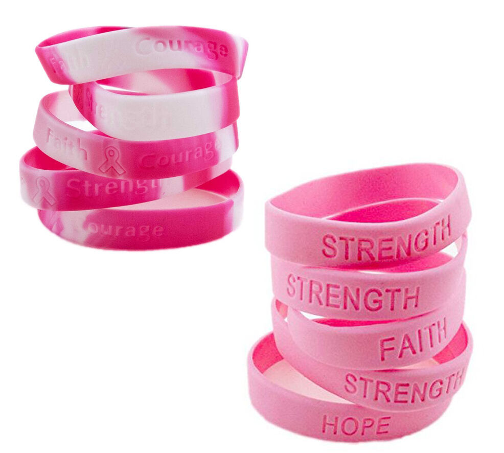 Pink breast cancer support wristbands