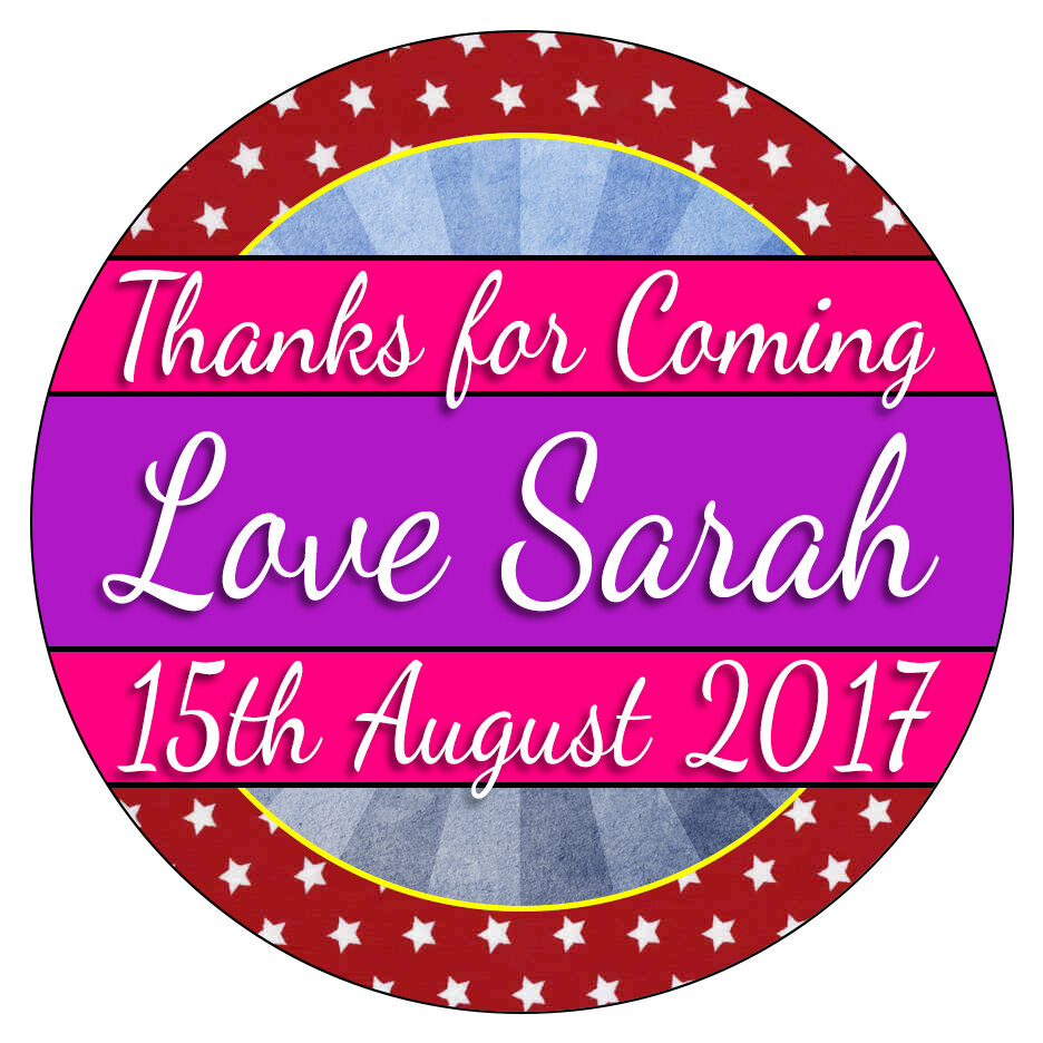 Details about personalised stickers thank you for coming to party sweet cones bag labels seal