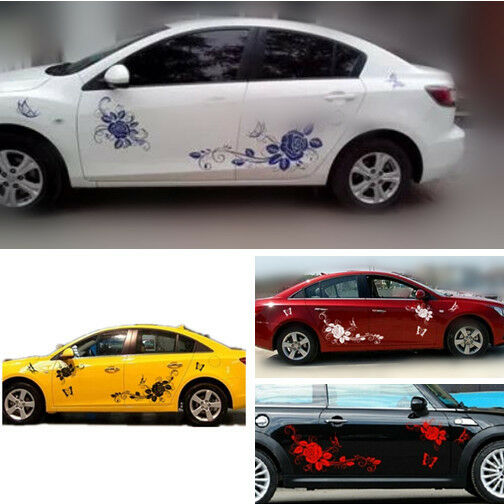 Pair Car Body Sticker Funny Door Decal Film Butterfly