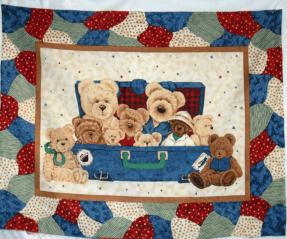 Everyday Bears Fabric Panel Wall Hanging Or Quilt Top