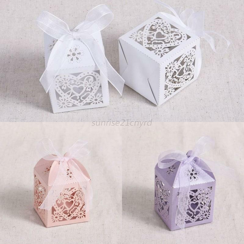 Boxes For Baby Shower Favors: Paper 50Pcs Laser Cut Cake Candy Gift Boxes Wedding Favors