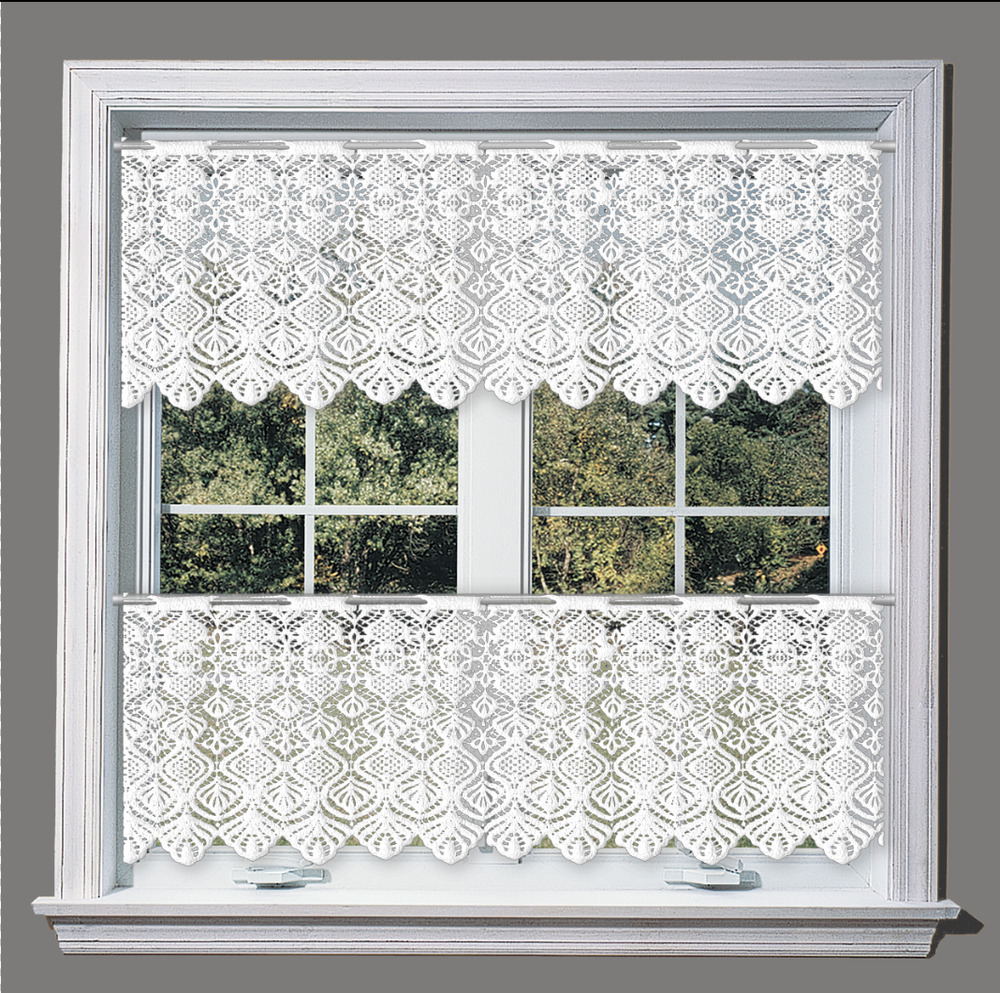 """White Cafe Net Curtain Lace Sold By The Metre 14"""" 24"""" And"""