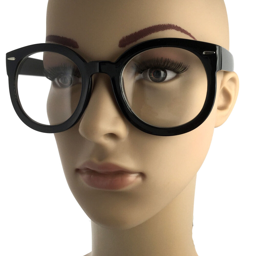 2d76896792 Details about Nerdy Retro Fashion Style Clear Lens Large Oversized Round  Eye Glasses Black