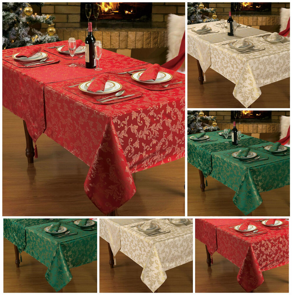 Christmas table linen decoration red gold glitter table for Decoration de table