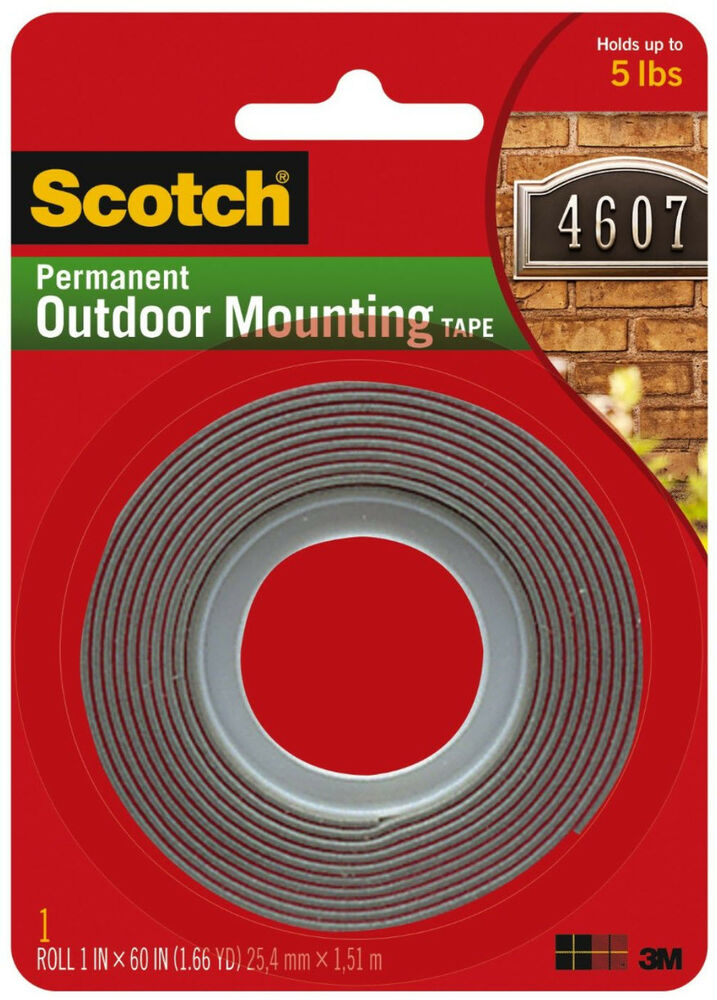 scotch permanent outdoor mounting tape 3m double sided adhesive 1 x 60 ebay. Black Bedroom Furniture Sets. Home Design Ideas