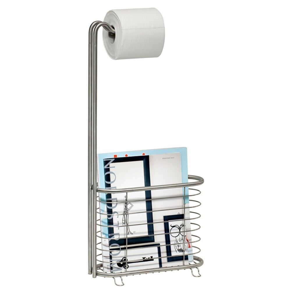Brushed Stainless Steel Toilet Paper Holder Magazine Stand