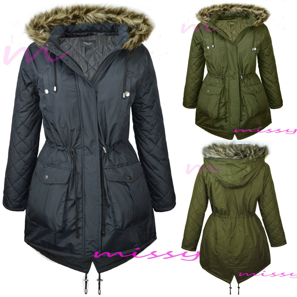 New Womens Padded Fishtail Parka Ladies Jacket Winter Coat