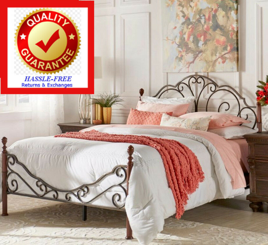 Full size metal bonze iron bed frame antique style bedroom for Full bedroom furniture