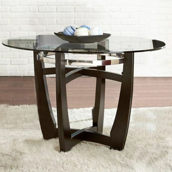 Glass dining table round top tempered wood chrome metal for Dining room tables 48 round