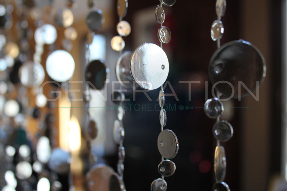Hanging doorway beaded curtains champagne bubble silver - Hanging beads for doorways ...