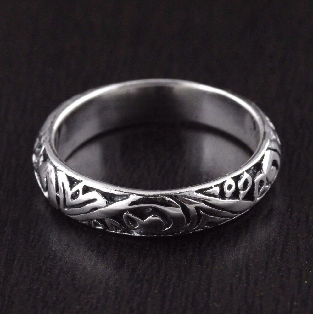 womens solid 925 sterling silver vintage style engraved