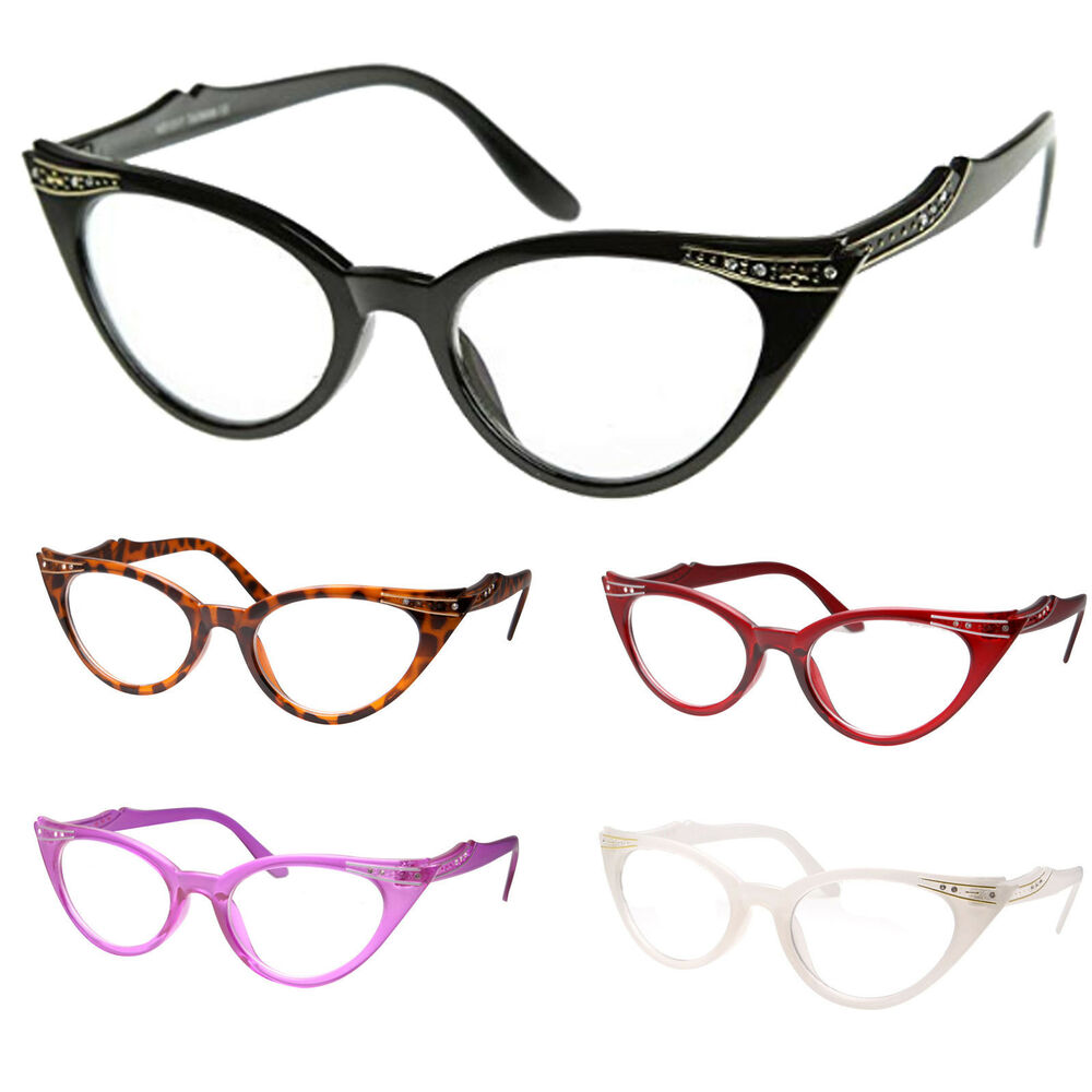 Cat Eye Clear Lens Glasses Rhinestone 50s Vintage Women ...