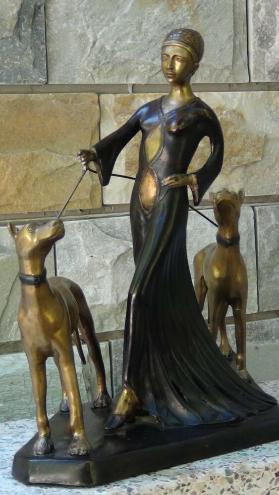 Antique 19c Art Decobronze Woman With Two Dogs Statue Ebay