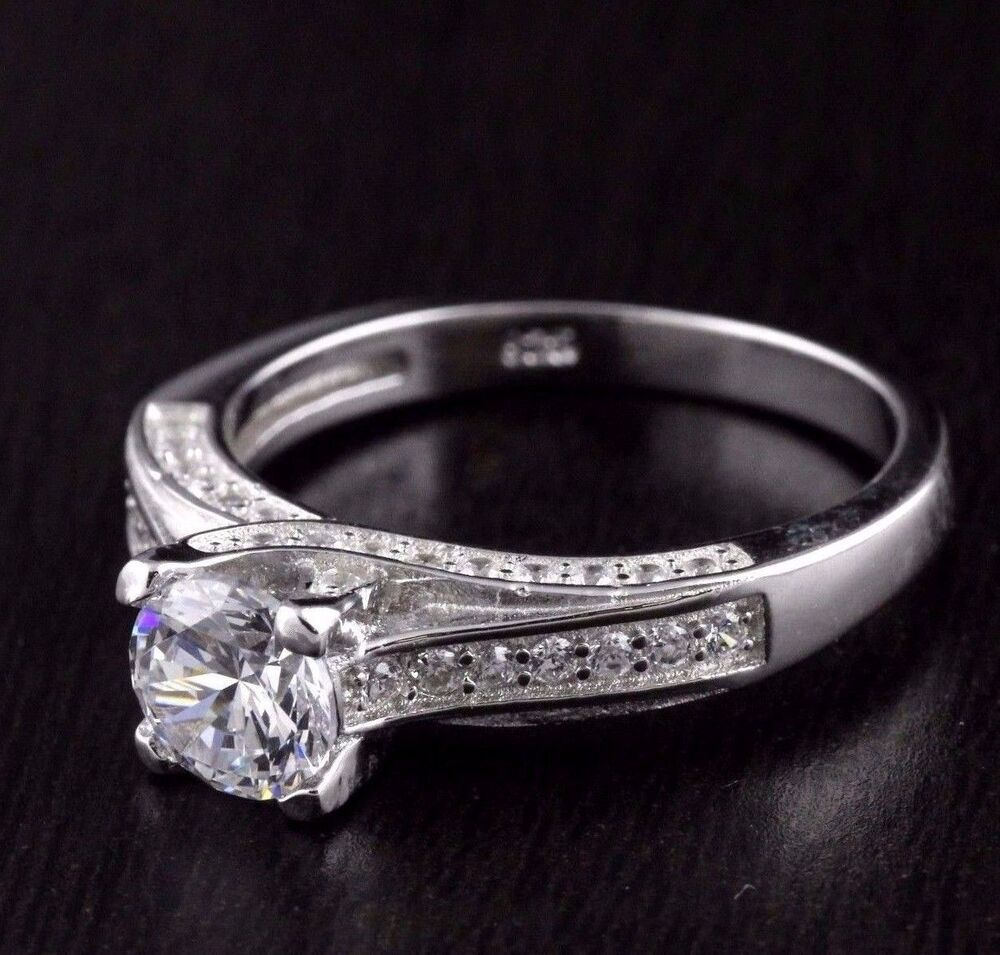 Womens Solid 925 Sterling Silver CZ 6mm Solitaire