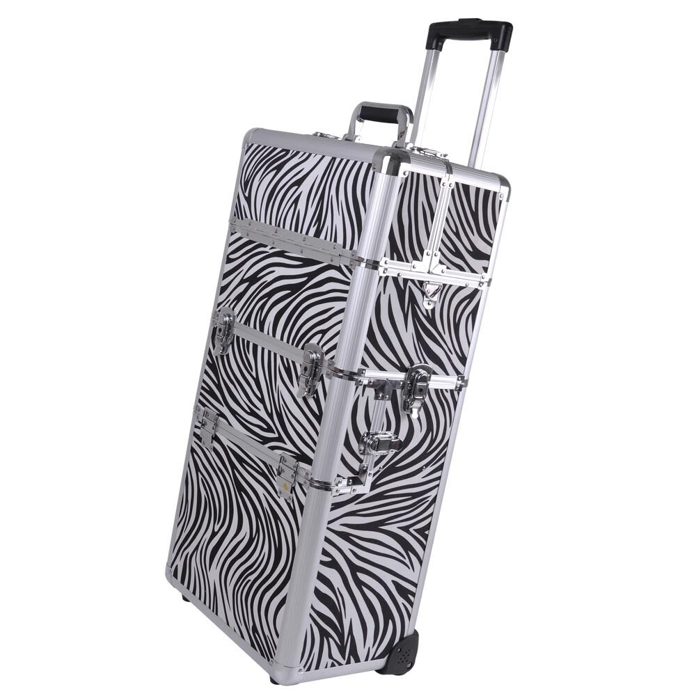 2in1 Aluminum Rolling Cosmetic Makeup Artist Train Case Hair Style 38 ...