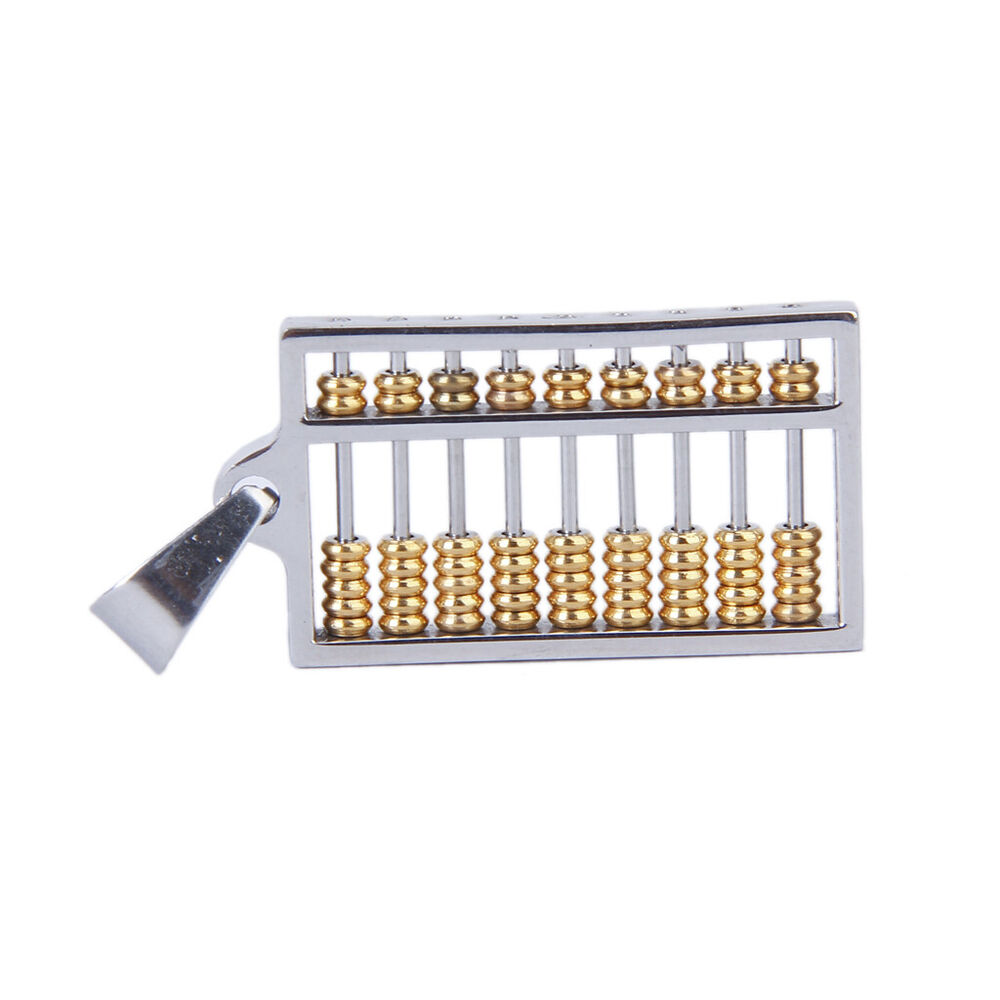Cool Men Women S Gold Silver Stainless Steel Abacus Charm