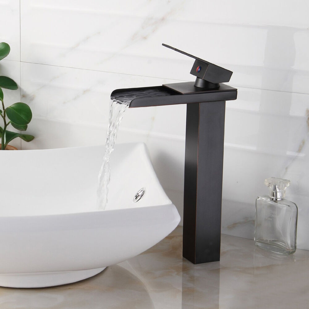 Bathroom sink faucet vessel waterfall oil rubbed bronze one hole handle ebay for Single hole waterfall bathroom faucet