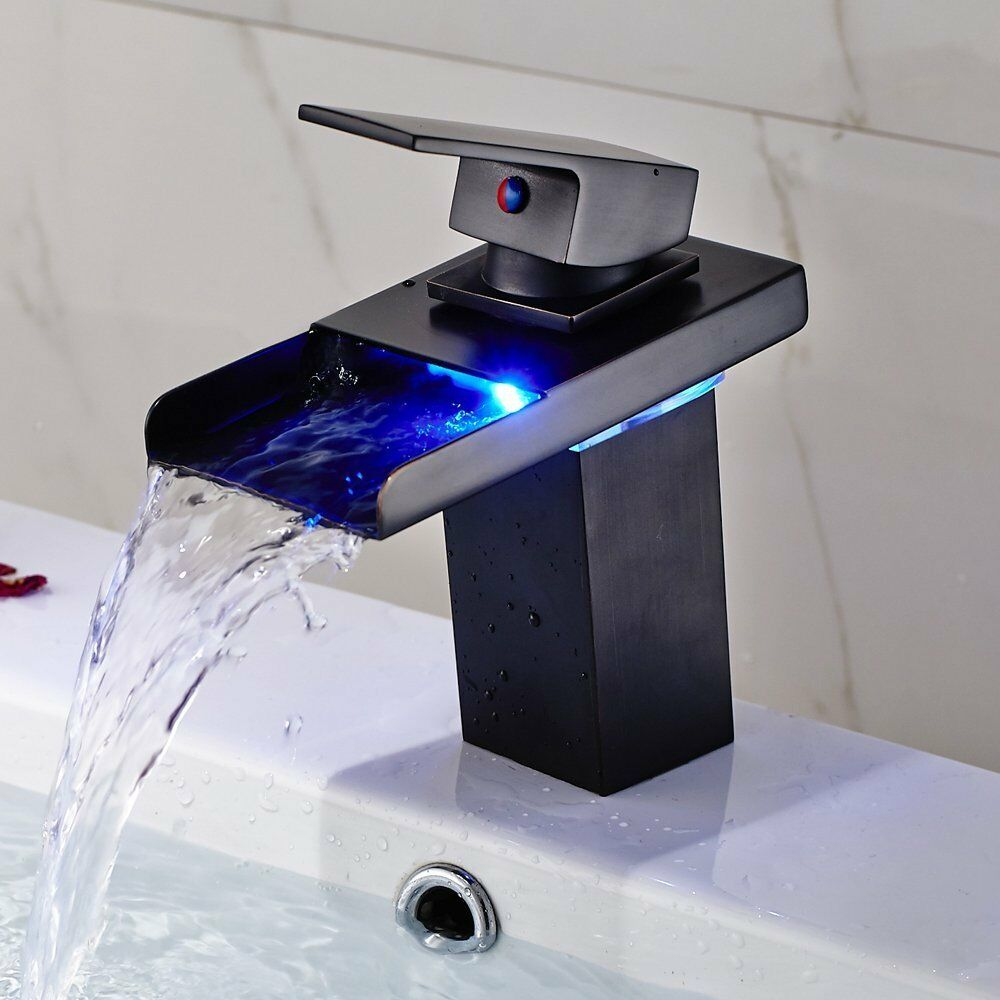 Led Bathroom Sink Faucet Waterfall Water Flow Oil Rubbed