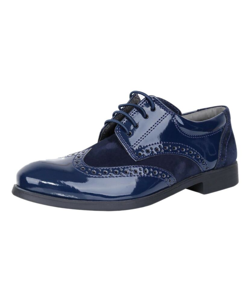 sirri boys formal navy blue suede patent brogue shoes
