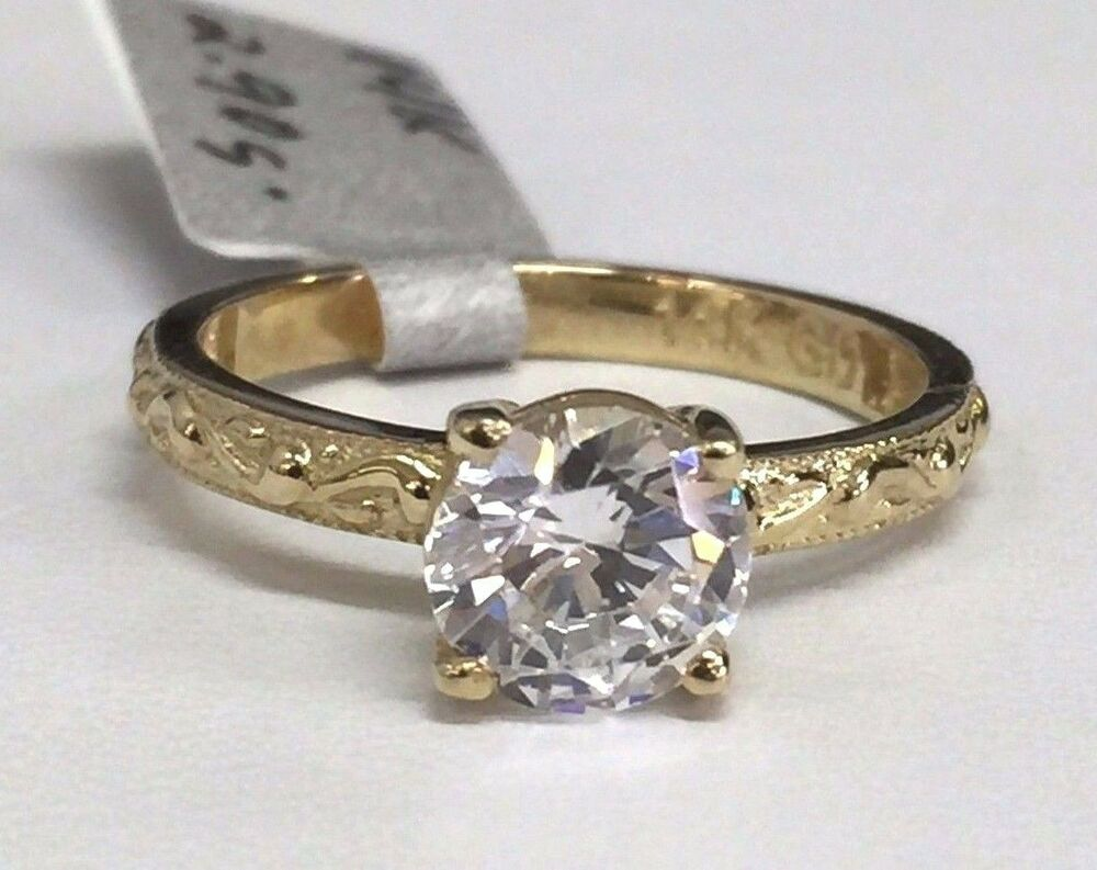 14k yellow gold antique style cubic zirconia engagement