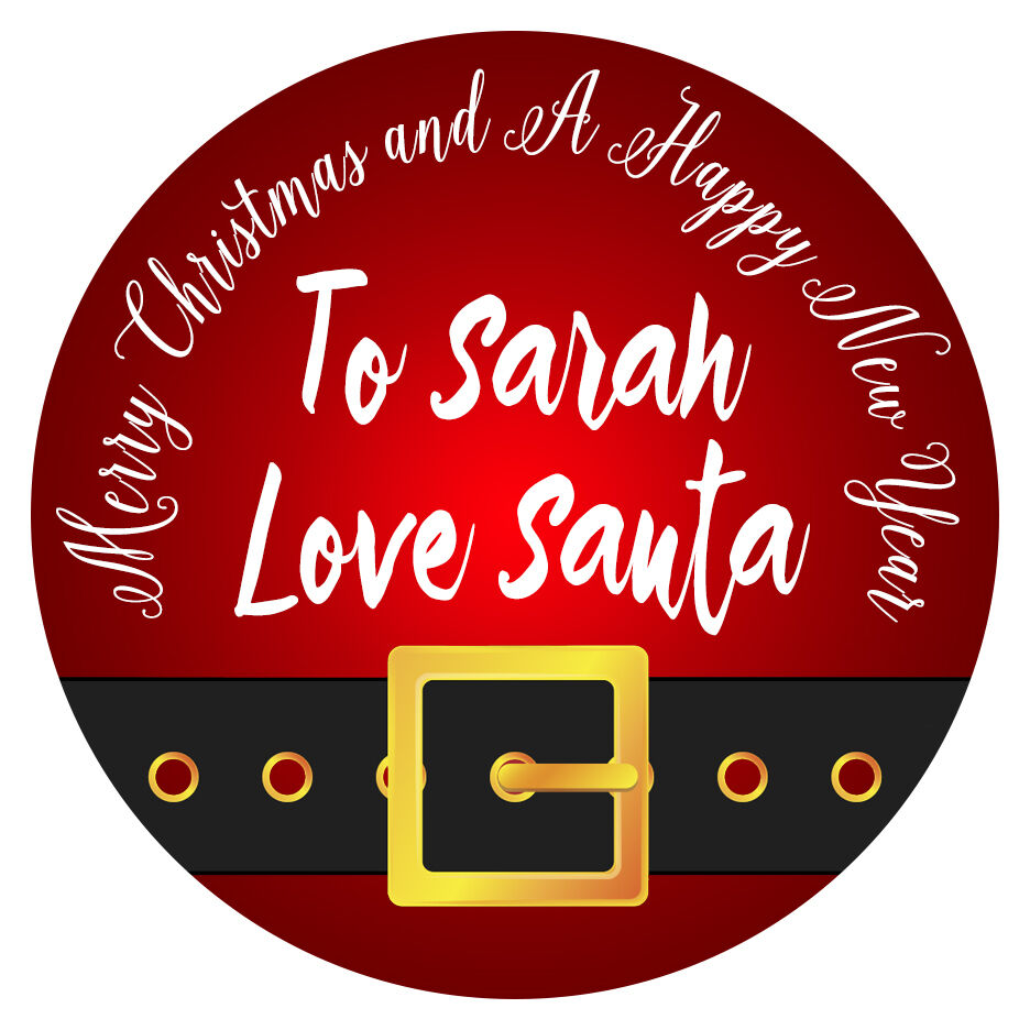 Details about personalised merry christmas stickers happy new year party bag gift label