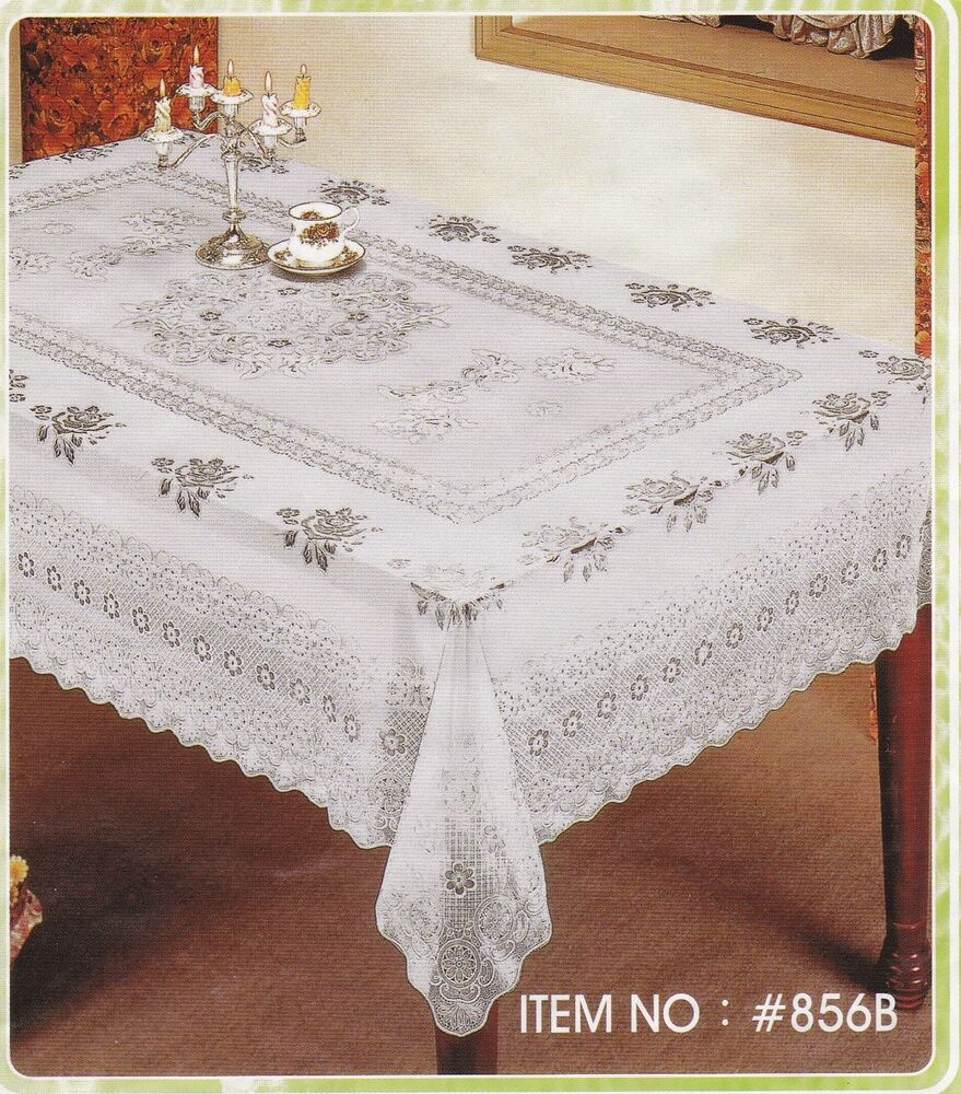 Vinyl Tablecloth Pvc Traditional Floral White Easy Wipe