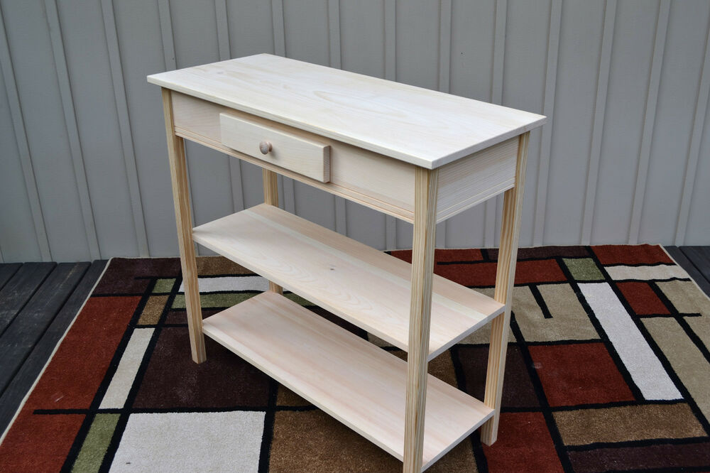Foyer Table Tall : Unfinished pine tall foyer entry table tv stand shaker