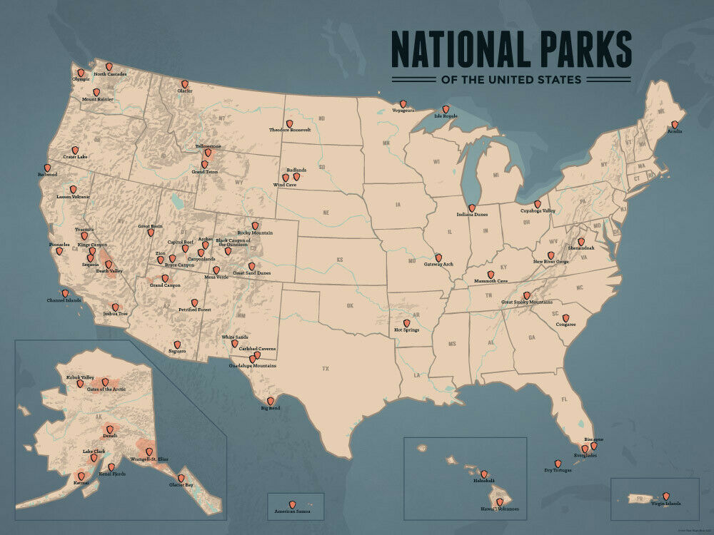 US National Parks Map 18x24 Poster Tan