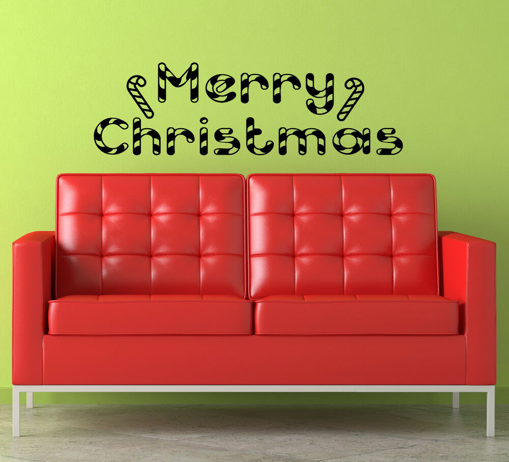 Merry christmas holiday candy cane vinyl wall decal for Christmas wall mural plastic