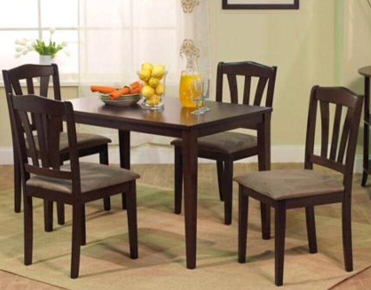 5 pc espresso wood dining room set kitchen chair table sets tables furniture ebay - Pc dining room set ...