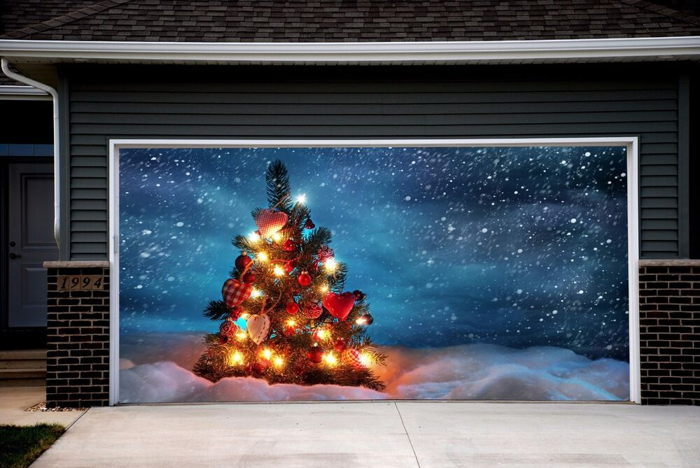 Christmas Garage Door Covers Banners Outside House ...