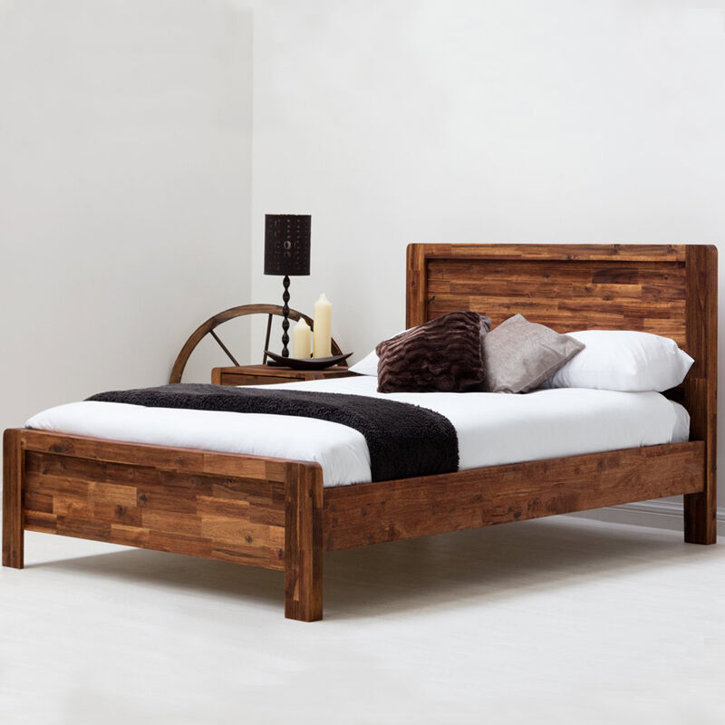 solid wooden bed frame modern handmade rustic panel bed double king size ebay. Black Bedroom Furniture Sets. Home Design Ideas