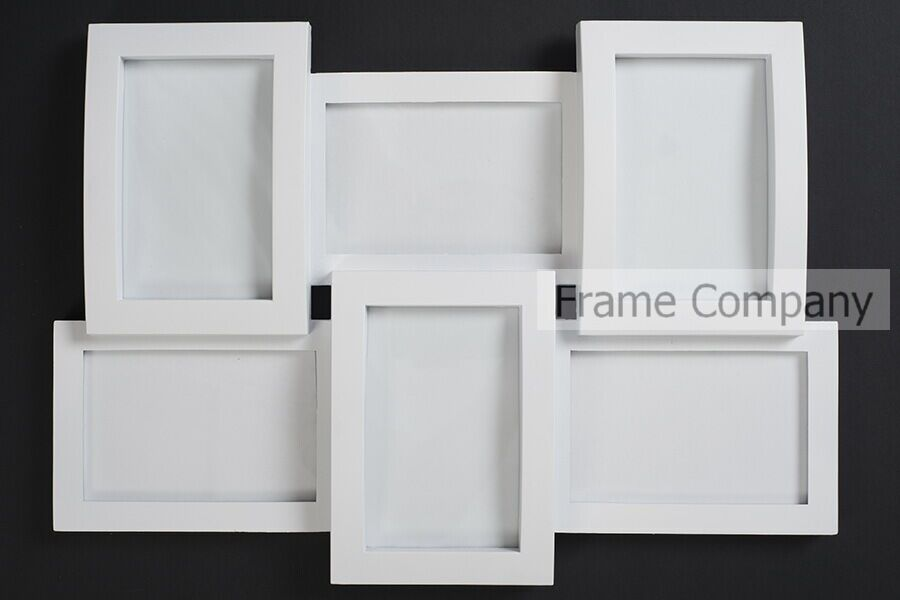 White Multi-Aperture Collage Photo Frame Holds Six 6x4 Photos Fitted ...