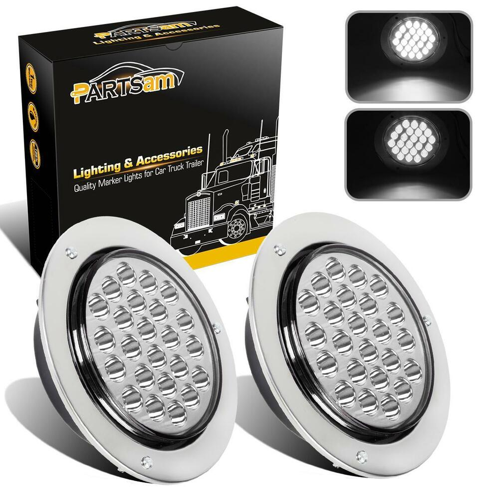 2pc 4 round white 24 led truck trailer light stop turn tail reverse chrome wire ebay. Black Bedroom Furniture Sets. Home Design Ideas