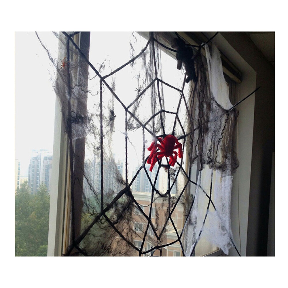 halloween indoor outdoor giant nylon 1 5m spiders web decoration spider ebay. Black Bedroom Furniture Sets. Home Design Ideas