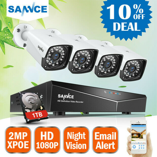 sannce 4ch nvr 960p poe security camera system hd ip. Black Bedroom Furniture Sets. Home Design Ideas