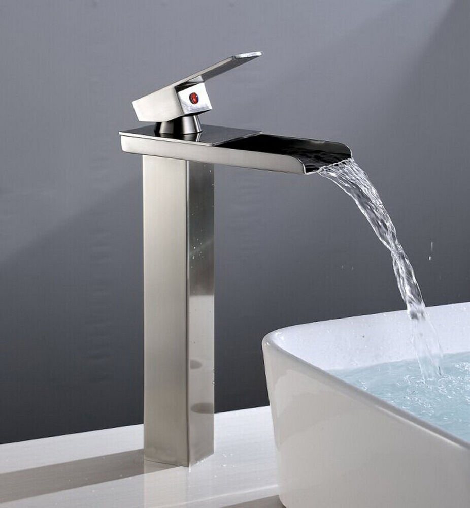 waterfall bathroom sink brushed nickel bathroom sink faucet vessel waterfall one 15019