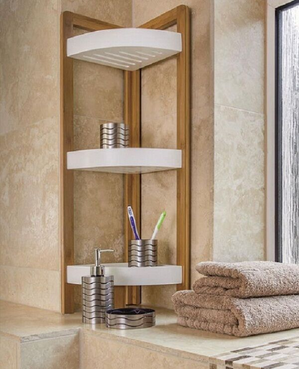 Bamboo Wood Corner 3 Tier Bath Shower Caddy Tidy Organizer