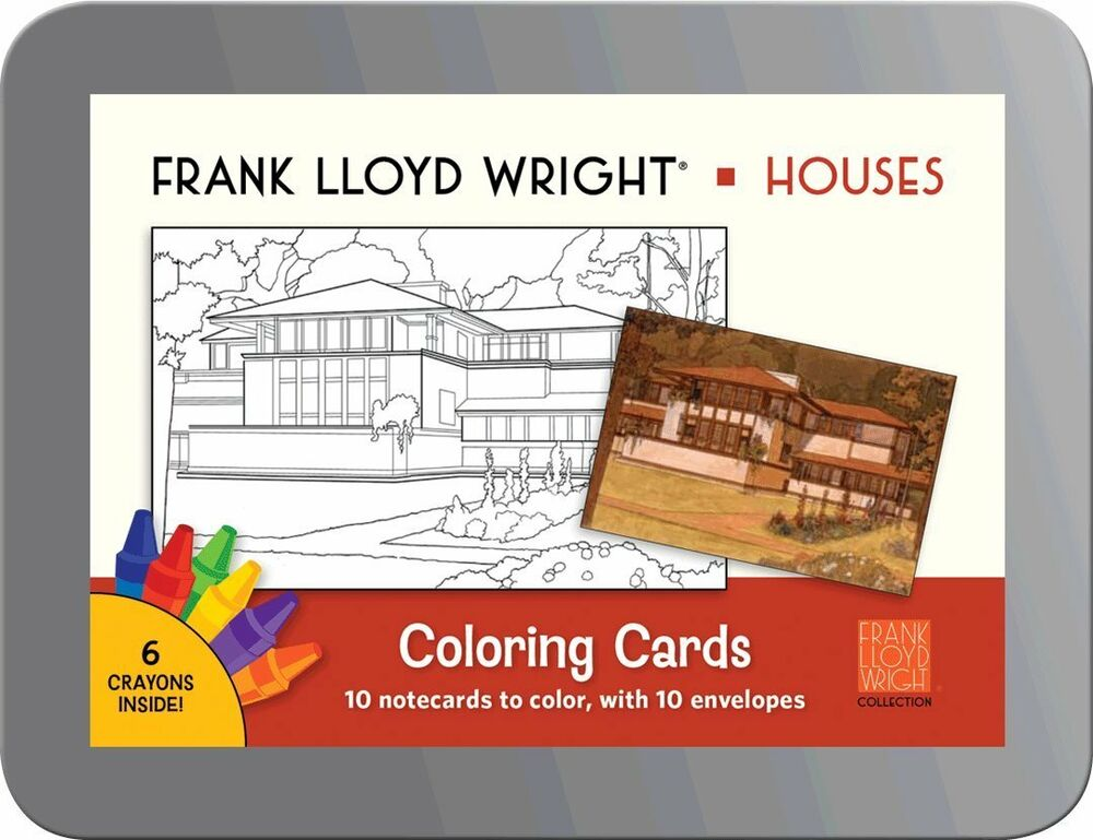 New houses frank lloyd wright notecards to color for Frank lloyd wright coloring pages