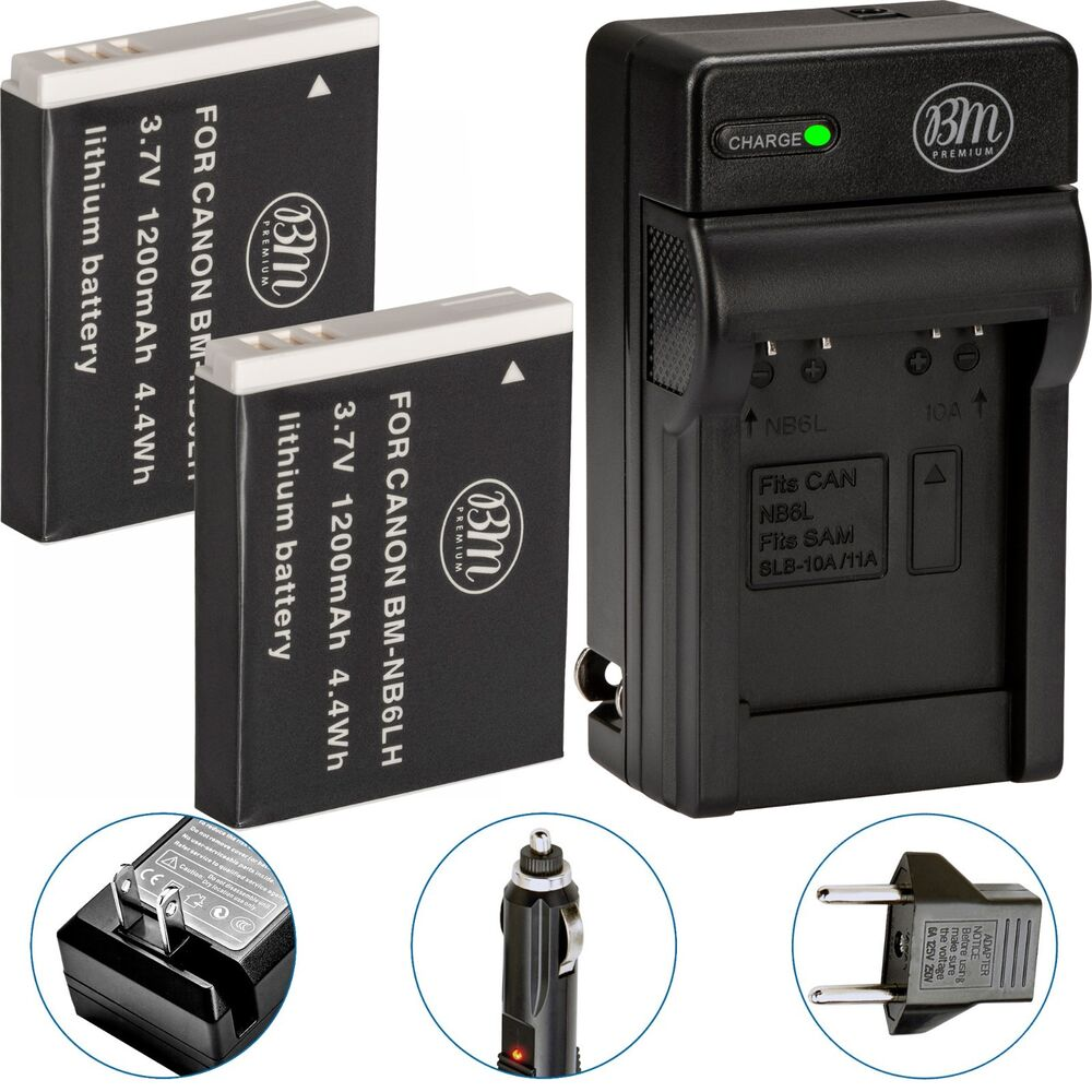 Bm 2x Nb 6l Nb6lh Batteries Amp Charger For Canon Powershot