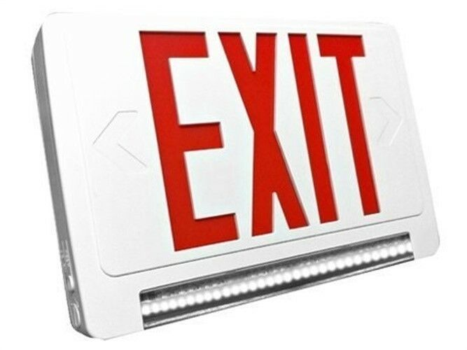 lighting exit sign and emergency lightpipe led combo w battery. Black Bedroom Furniture Sets. Home Design Ideas