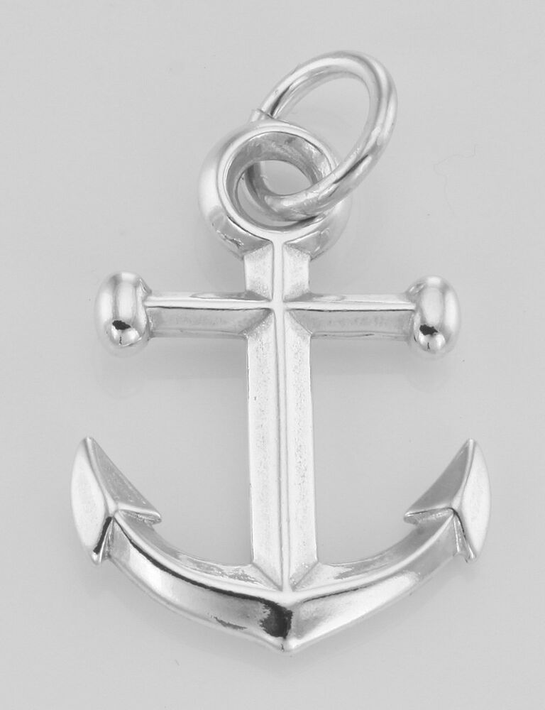 Silver boat ship anchor charm or pendant made in the usa ebay
