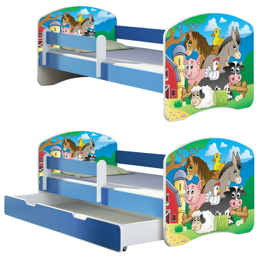jugendbett kinderbett mit einer schublade und matratze 160x80 blau ebay. Black Bedroom Furniture Sets. Home Design Ideas