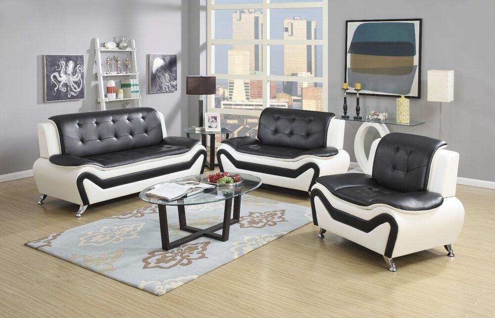 Wanda white black bonded leather sofa set 3pc 2pc sofa for Black and white living room set