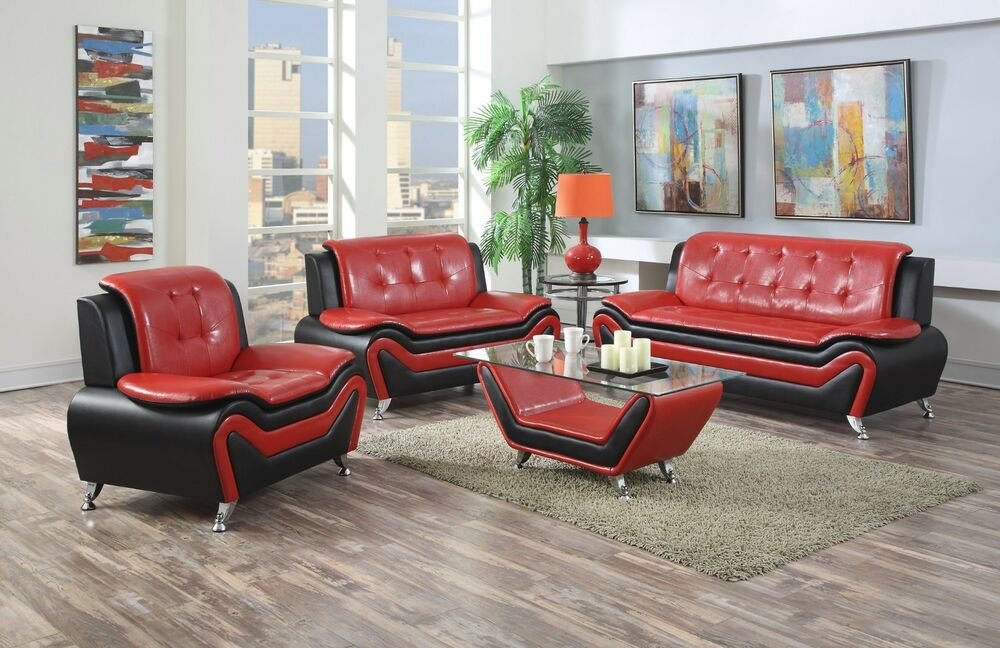 Wanda Red/Black Bonded Leather Sofa Set-3PC, 2PC, Sofa, Loveseat