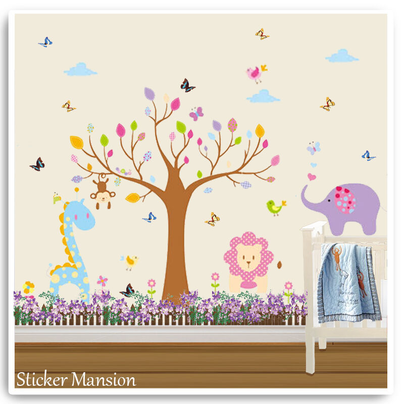 animal wall stickers jungle zoo safari tree baby pink nursery girl bedroom decal ebay. Black Bedroom Furniture Sets. Home Design Ideas