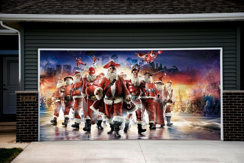 Christmas santa decor garage door covers 3d print mural for Christmas garage door mural