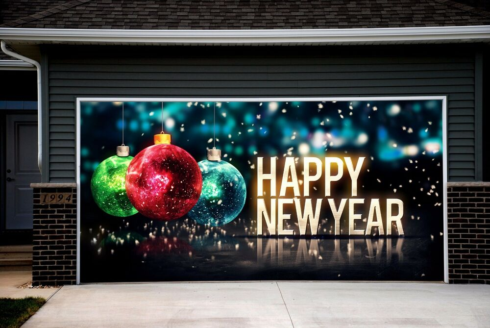 Christmas ball decor garage door covers 3d banners outside for Christmas garage door mural