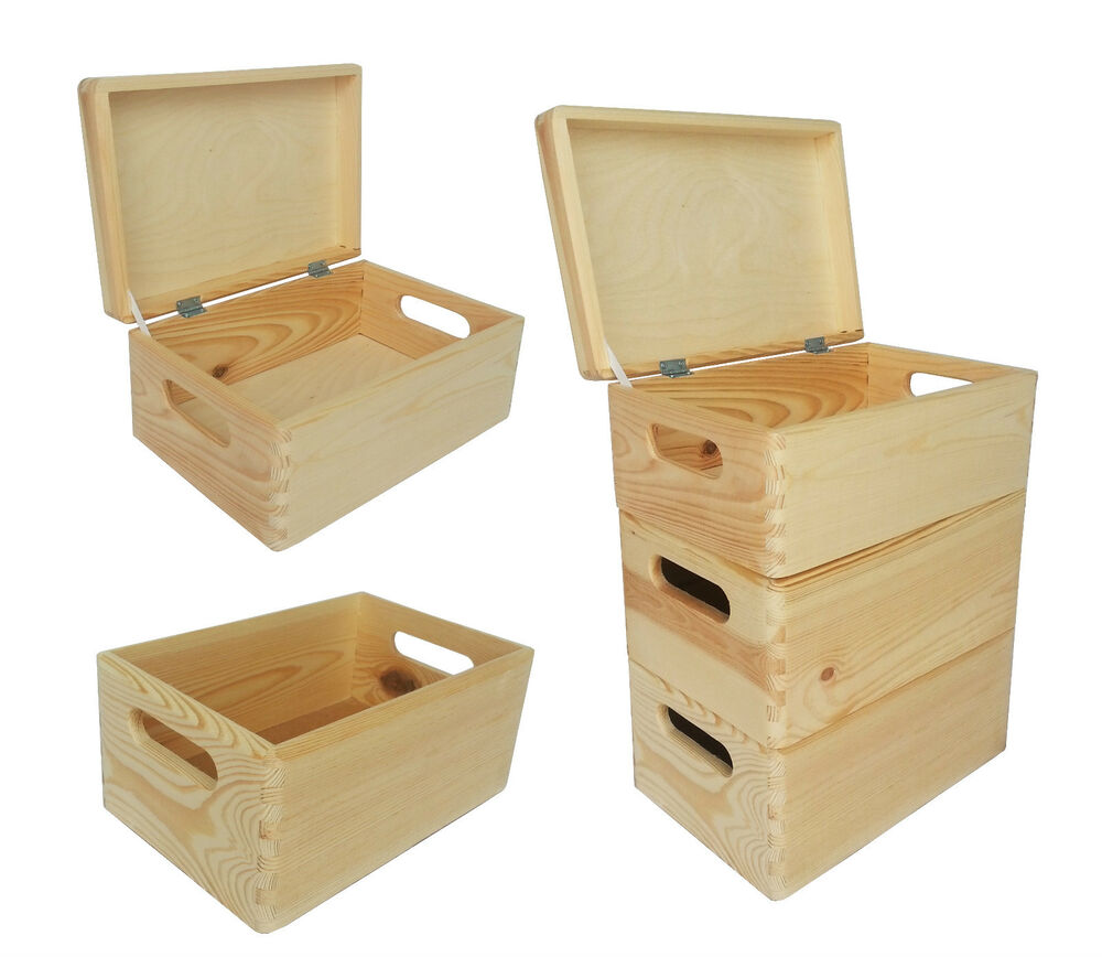 plain small pine wooden storage box trunk chest crate with lid decoupage ebay. Black Bedroom Furniture Sets. Home Design Ideas