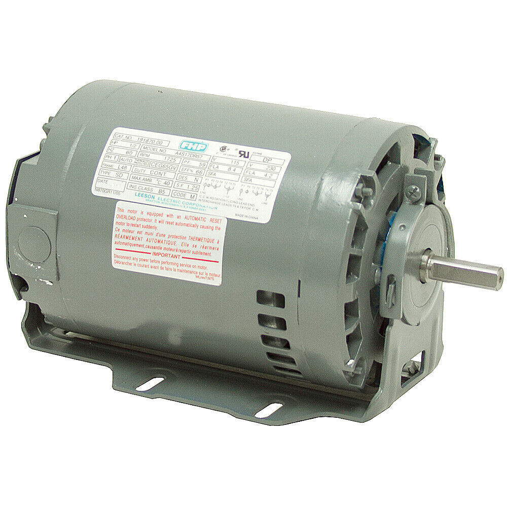 1 2 hp 1725 rpm 115 230 volt ac 48 frame leeson fan motor for Picture of electric motor